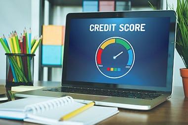 credit score on laptop screen