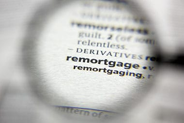 the word remortgage in the dictionary